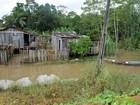 Moradores têm casas alagadas pelo Rio Jamari em bairro de Ariquemes