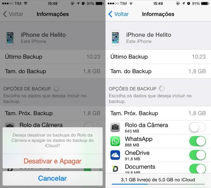 Apagando backup das fotos do iCloud (Foto: Reprodução/Helito Bijora)