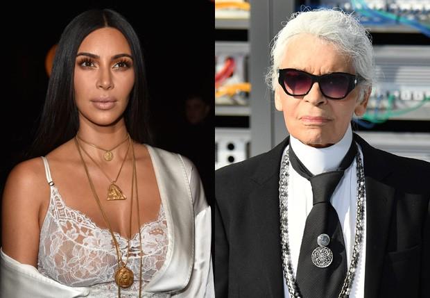 Kim Kardashian e Karl Lagerfeld (Foto: Getty Images)