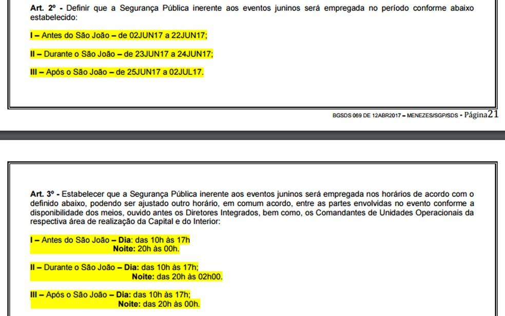 Datada do dia 6 deste mês, a portaria foi publicada no boletim no dia 12 de abril (Foto: Reprodução/Boletim-Geral da SDS)