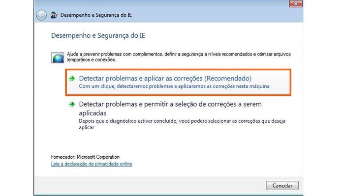 Inicie a análise do navegador pela ferramenta da Microsoft (Foto: Reprodução/Barbara Mannara)