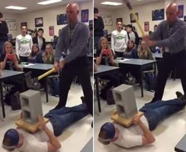 Professor acertou partes íntimas de jovem ao tentar quebrar concreto com machado (Foto: Reprodução/YouTube/LiveOK)