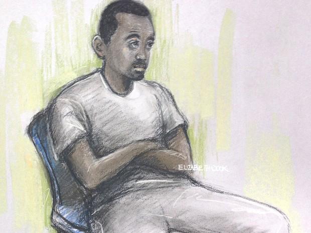 Desenho feito pela artista forense Elizabeth Cook mostra Muhaydin Mire na Westminster Magistrates' Court, em Londres, na segunda (7) (Foto: Elizabeth Cook/PA via AP)