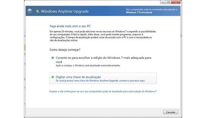 Janela do Windows Anytime Upgrade (Foto: Reprodução/Raquel Freire)