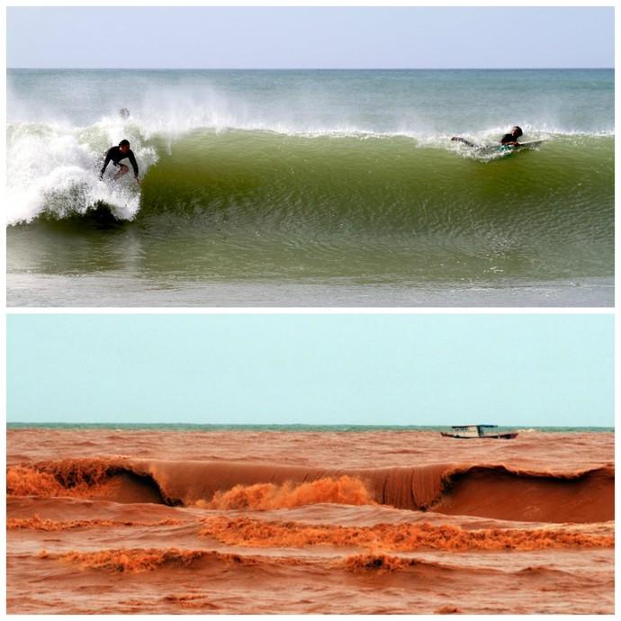 Surfe praia de regência lama antes e depois (Foto: Bocana Surf Camp e Fernando Madeira)