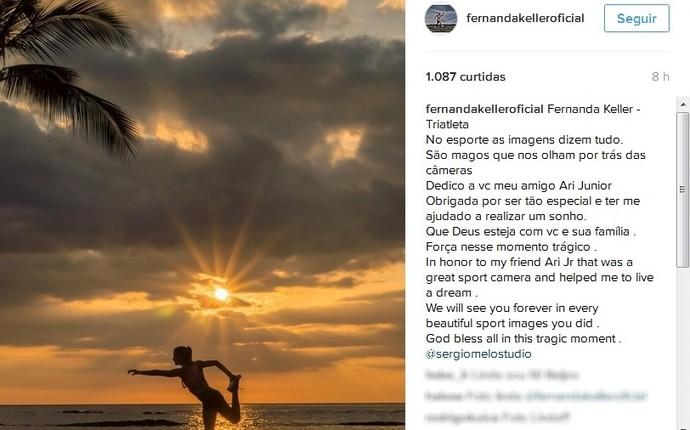 Fernanda Keller posta homenagem ao cinegrafista Ari Júnior (Foto: Reprodução/Instagram)