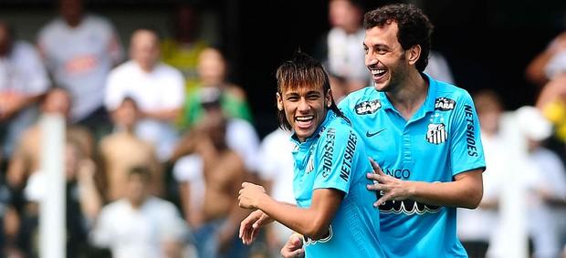Festa 100 anos do Santos, Neymar e Edu Dracena (Foto: Marcos Ribolli / Globoesporte.com)