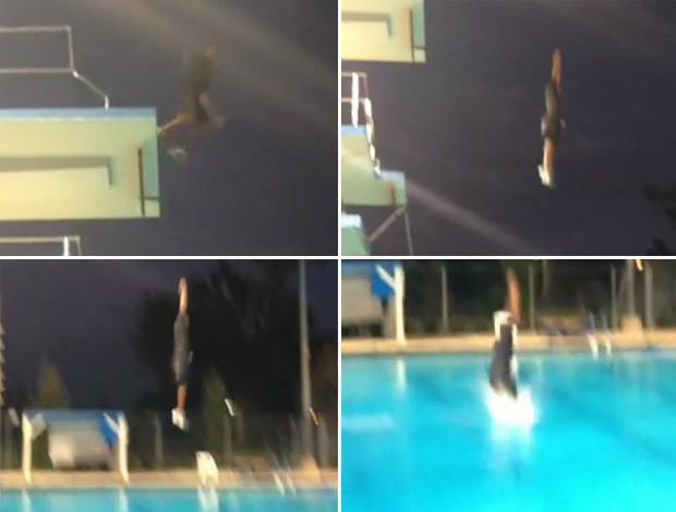 Kobe Bryant plataforma piscina salto (Foto: Reprodução)