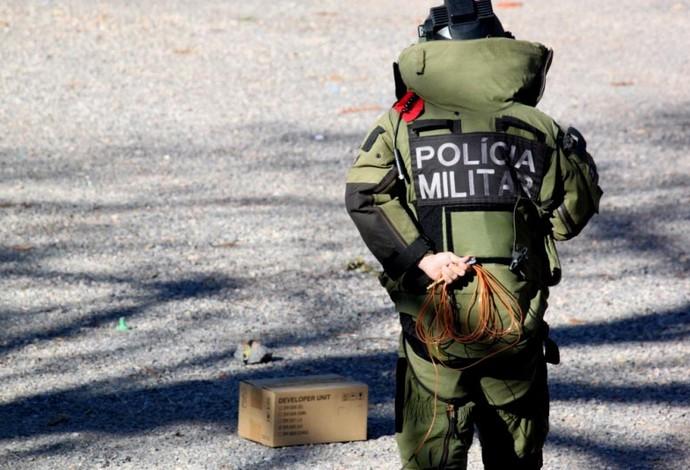 Esquema de segurança do DF para Brasil x Japão BOPE (Foto: Fabrício Marques)