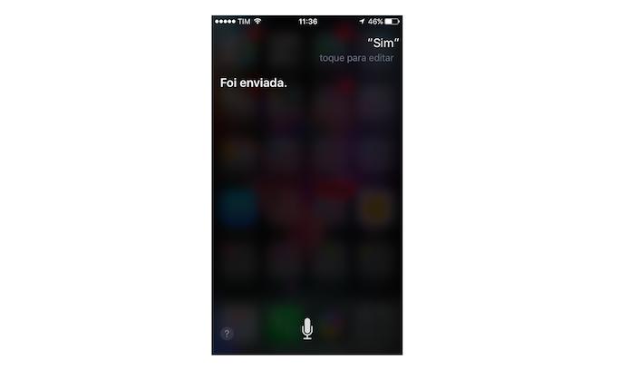 Confirmação de mensagem enviada para o WhatsApp através da Siri (Foto: Reprodução/Marvin Costa)