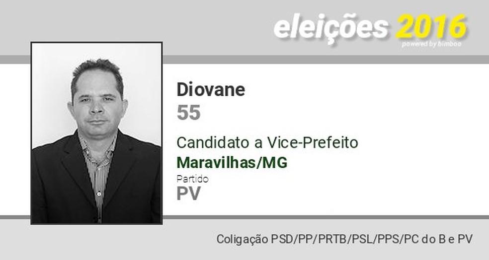 Diovane Policarpo de Castro se candidatou a prefeito de Maravilhas em 2016 (PV) (Foto: Eleições 2016/Divulgação)