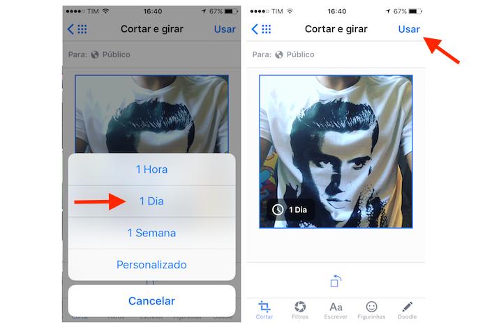 Adicionando uma foto temporária no Facebook para iPhone (Foto: Reprodução/Marvin Costa)