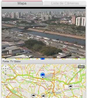 Veja câmeras ao vivo do trânsito (Reprodução/TV Globo)
