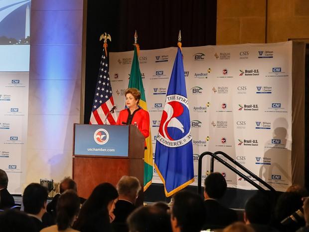 A presidente Dilma Rousseff, durante encontro com empresários em Washington (EUA) (Foto: Roberto Stuckert Filho/PR)