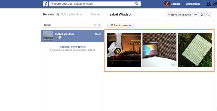 As imagens trocadas pelo chat com o amigo serão mostradas no Facebook (Foto: Reprodução/Barbara Mannara)