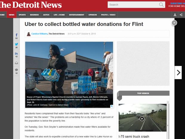 Moradores de Flint arrecadam água mineral com campanha do Uber (Foto: Reprodução/Detroit News)