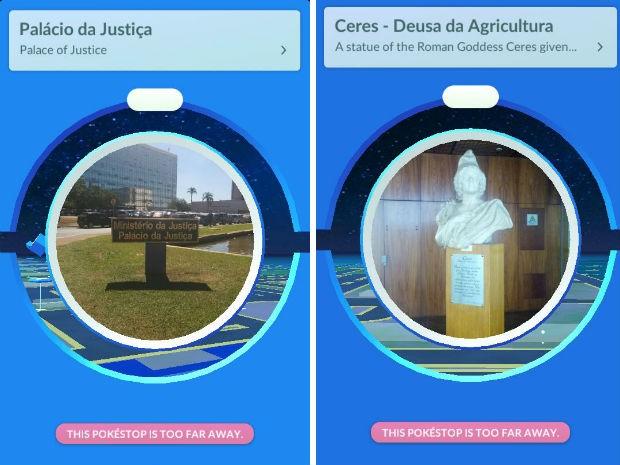 Pontos de encontro de jogadores de Pokémon Go nos ministérios da Justiça e da Agricultura, em Brasília (Foto: Niantic/Reprodução)