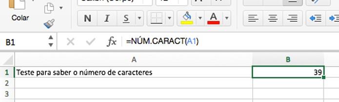 Fórmula para contar o número de caracteres (Foto: Reprodução/André Sugai)