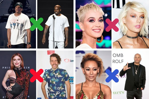 Kanye West X JAY-Z; Katy Perry X Taylor Swift; Bella Thorne X Perez Hilton e Mel B X Stephen Belafonte: o mundo das celebridades foi recheado de tretas em 2017 (Foto: Getty Images)