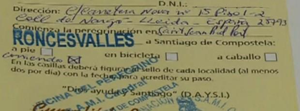 Certificado de Compostela da atleta Fernanda Maciel (Foto: Reprodução SporTV)