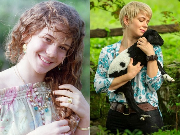 A atriz Leandra Leal, em 1995, em Explode Coração, e em 2013, na novela Saramandaia (Foto: Globo)