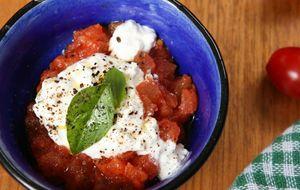 Compota de tomate com queijo cottage