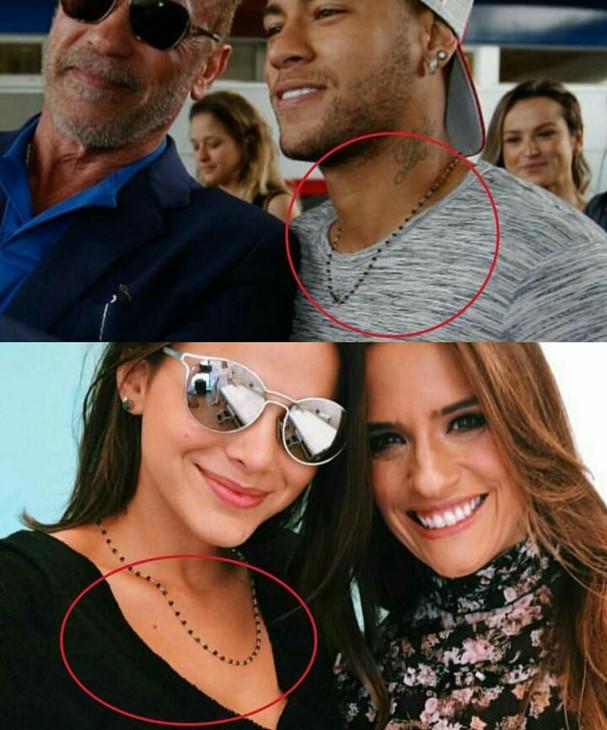 Neymar e Bruna Marquezine usam mesmo colar e fãs notam (Foto: Reprodução/Instagram)