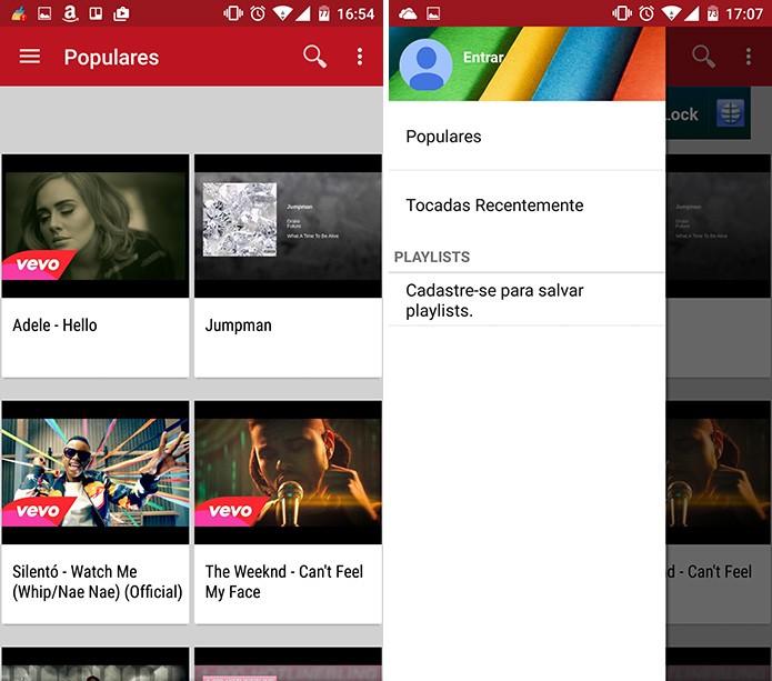 FireTube é bem parecido com o YouTube e oferece sugestões de vídeos para reprodução em segundo plano (Foto: Reprodução/Elson de Souza)