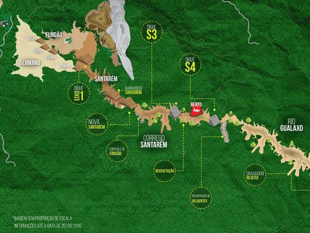 Infográfico mostra onde obras da Samarco serão feitas em Mariana (Foto: Samarco/Divulgação)