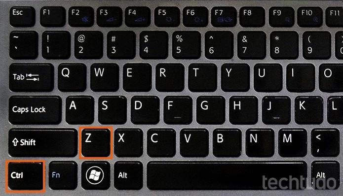 Atalho CTRL + Z no computador (Foto: Barbara Mannara/TechTudo)