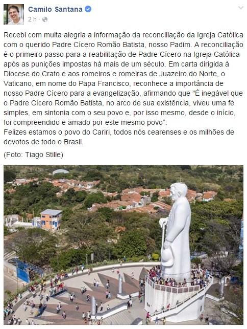 Camilo Santana utiliza redes socais para comemorar perdão da igreja Católica a padre Cícero (Foto: Facebook/Reprodução)