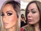Ju Isen e Erika Canela mostram a cara antes e depois do make