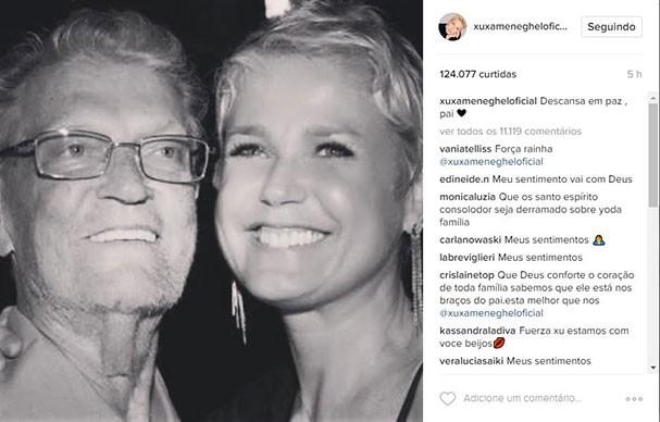 Xuxa lamenta a morte do pai, Luiz Floriano Meneghel (Foto: Reprodução/Instagram)