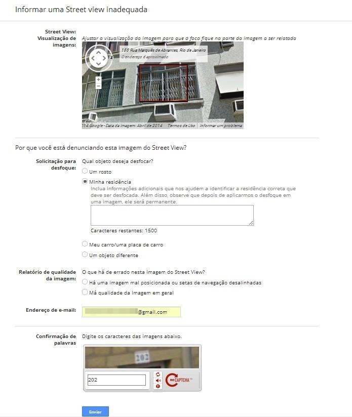 Formulário para informar problema na imagem do Street View (Foto: Reprodução/Raquel Freire)