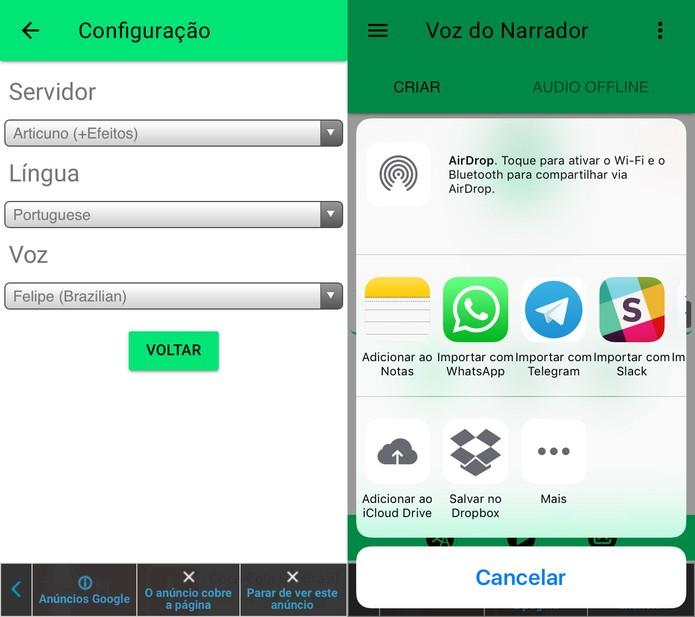 Voz do Narrador permite gravar áudio com base em texto (Foto: Reprodução/Felipe Vinha)
