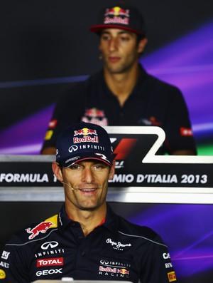 Mark Webber e Daniel Ricciardo na coletiva de imprensa em Monza, palco do GP da Itália (Foto: Getty Images)