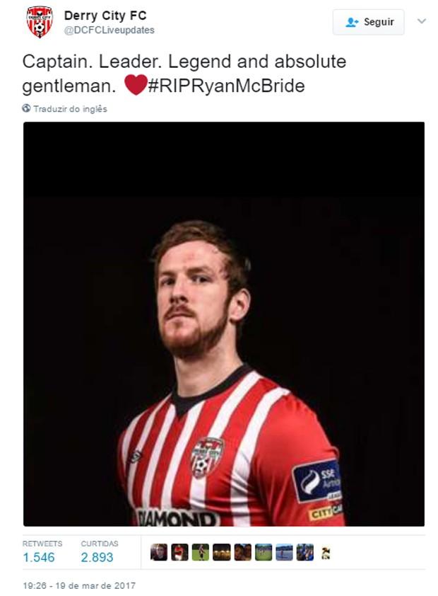 Time Derry City lamenta morte de seu jogador Ryan McBride (Foto: Reprodução)