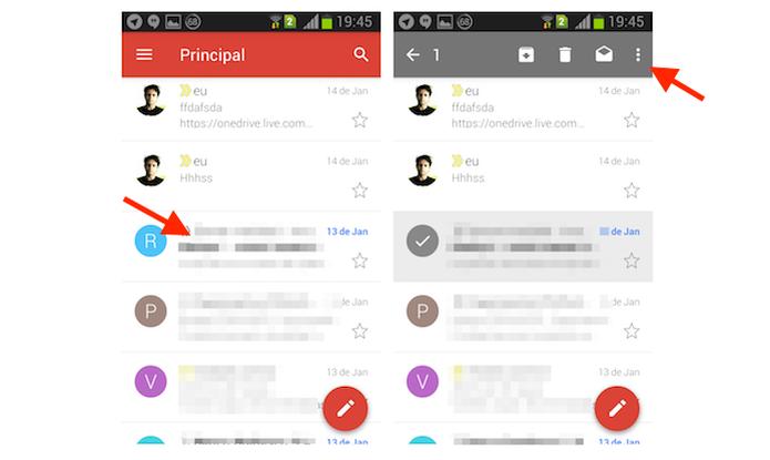 Acessando as opções para uma mensagem selecionada no Gmail para Android (Foto: Reprodução/Marvin Costa) (Foto: Acessando as opções para uma mensagem selecionada no Gmail para Android (Foto: Reprodução/Marvin Costa))
