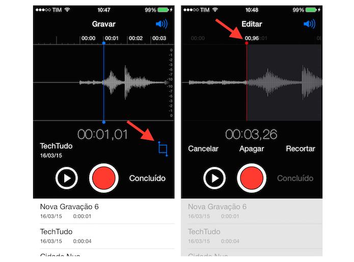 Iniciando a ferramenta de recorte do gravador do iOS para cortar trechos de um áudio gravado (Foto: Reprodução/Marvin Costa) (Foto: Iniciando a ferramenta de recorte do gravador do iOS para cortar trechos de um áudio gravado (Foto: Reprodução/Marvin Costa))