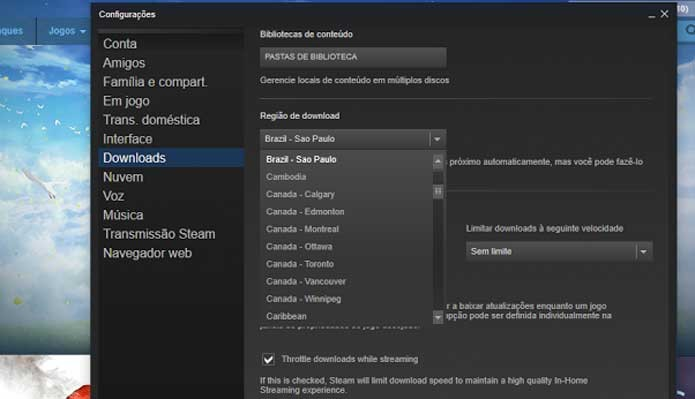 Selecione um novo servidor próximo do Steam (Foto: Reprodução/Felipe Vinha)
