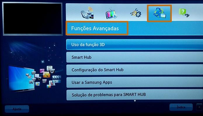 As funções avançadas do e-Manual tem informações sobre recursos 3D e Smart Hub (Foto: Reprodução/Barbara Mannara)