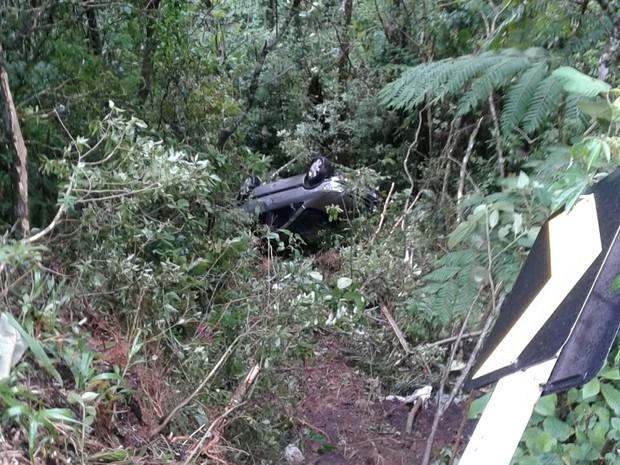 Veículo capota em ribanceira de 20 metros (Foto: Divulgação/bombeiros)