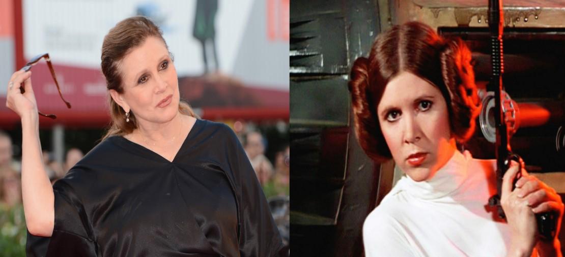 Carrie Fisher mudou bastante seu visual ao longo dos anos. Para filmar seu primeiro filme da série Star Wars em um intervalo de mais de 30 anos, ela emagreceu 20 Kg. (Foto: Divulgação/Getty Images)