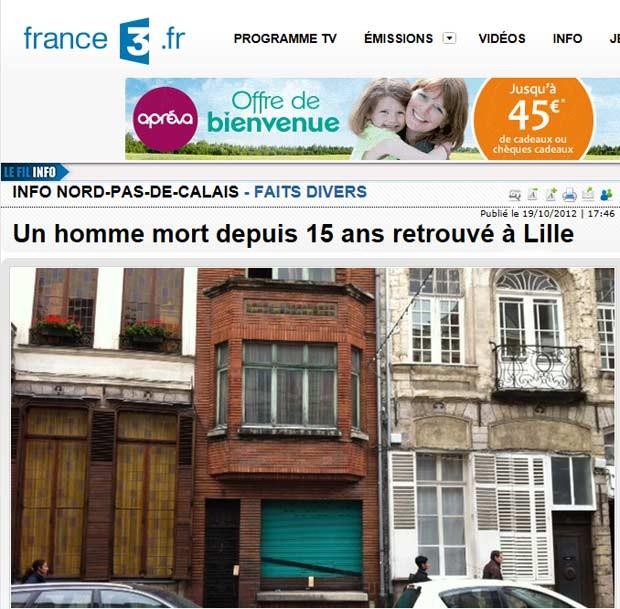 Casa em Lille onde o esqueleto foi encontrado (Foto: Reprodução)