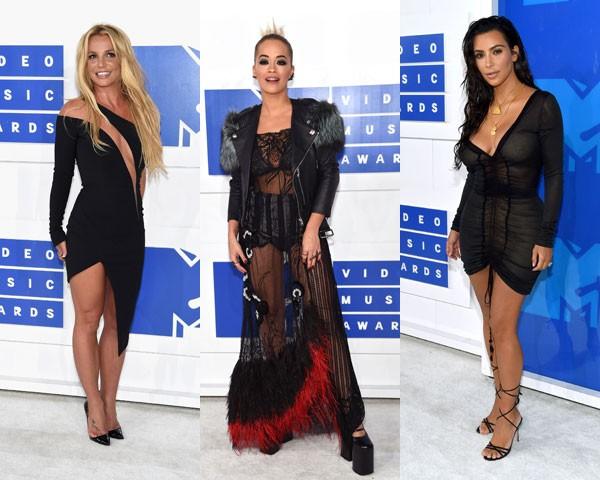 Preto nada básico: Britney Spears, Rita Ora e Kim Kardashian (Foto: Getty Images)