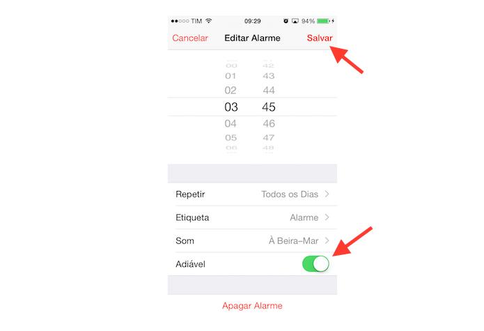 Ativando o modo adiável de um alarme de despertador do iPhone (Foto: Reprodução/Marvin Costa)