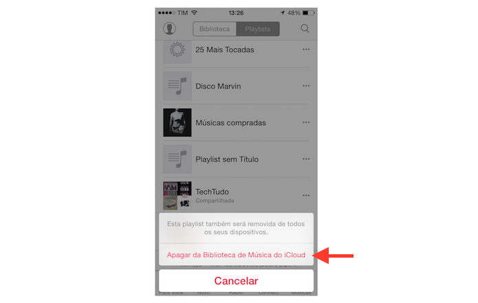 Apagando uma playlist da Apple Music do iPhone definitivamente (Foto: Reprodução/Marvin Costa)