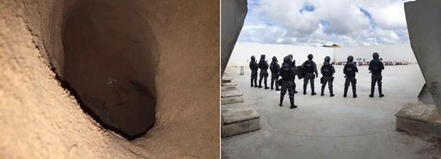 Escavação foi descoberta sob o piso do pavilhão 3; detentos foram retirados das celas durante a revista (Foto: G1/RN)