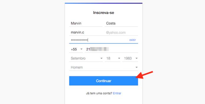 Indicando dados pessoais para criar uma conta no Yahoo Mail (Foto: Reprodução/Marvin Costa) (Foto: Indicando dados pessoais para criar uma conta no Yahoo Mail (Foto: Reprodução/Marvin Costa))