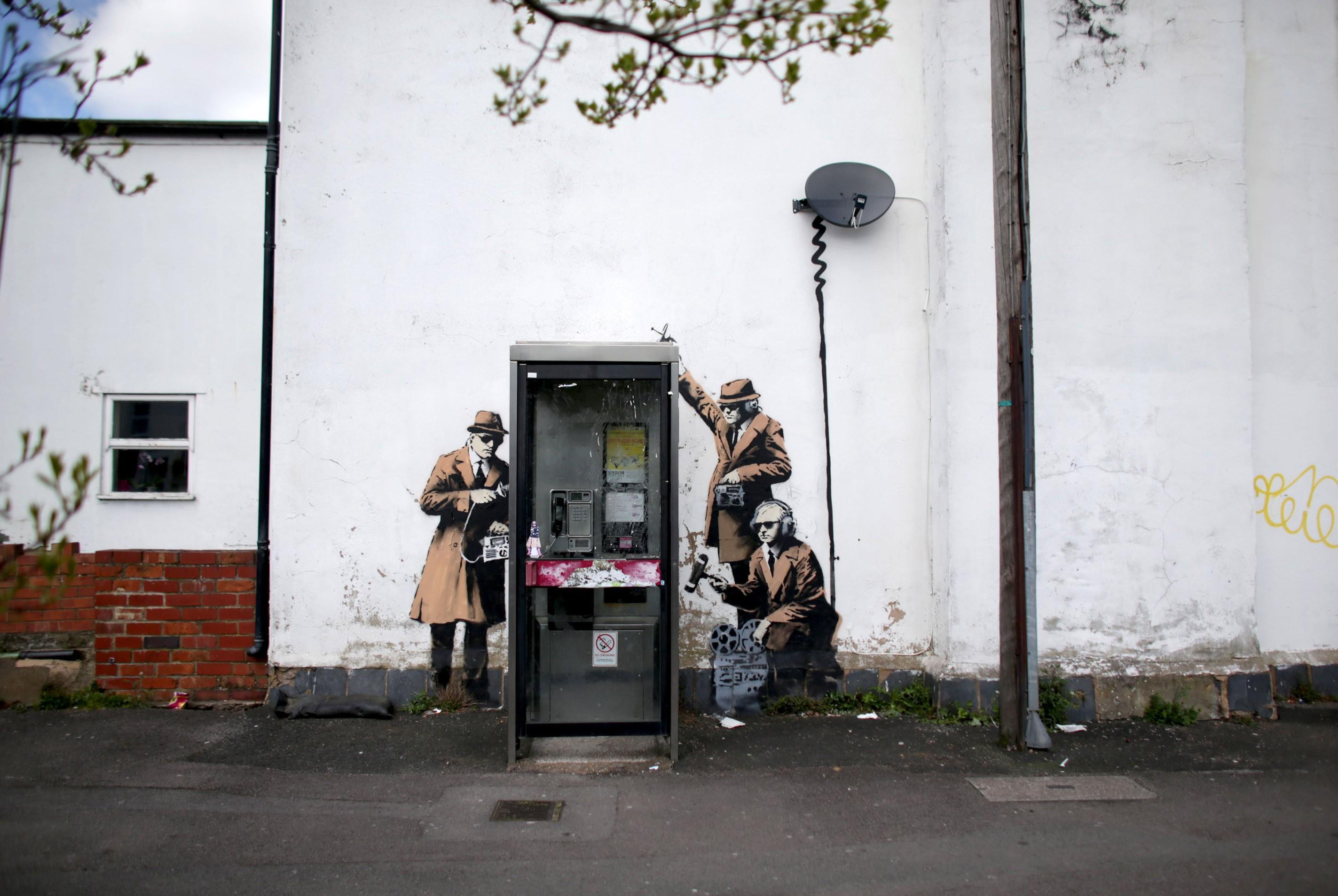 Graffitti de Banksy em Gloucestershire, Inglaterra, registrado em 2014. (Foto: Getty Images/ Matt Cardy)